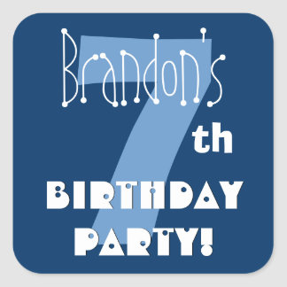 7th Birthday Custom Name Navy and Baby Blue Square Sticker