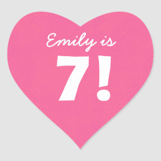 7th Birthday Custom Name Pink Dots for GIRL B7Z Heart Sticker