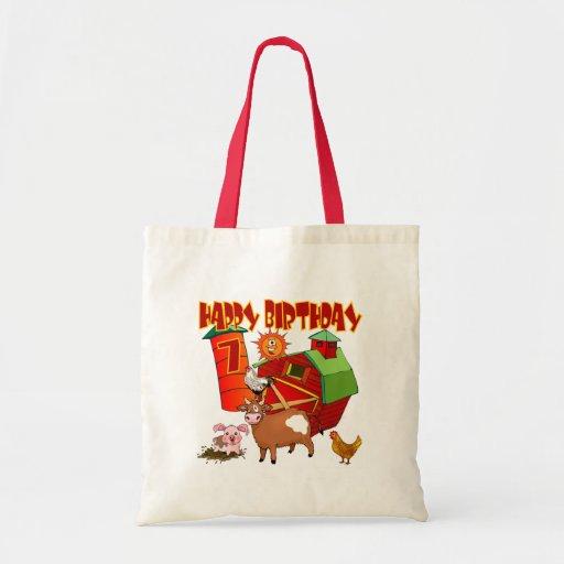7th Birthday Farm Birthday Tote Bags