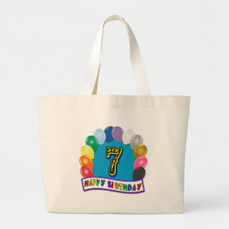 7th Birthday Gifts with Assorted Balloons Tote Bag Jumbo Tote Bag