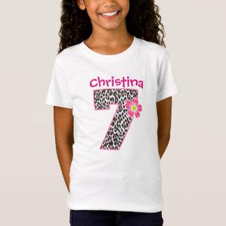 7th Birthday Girl Hot Pink & leopard print T-Shirt