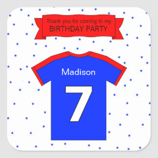 7th birthday party Custom text and name Square Sticker