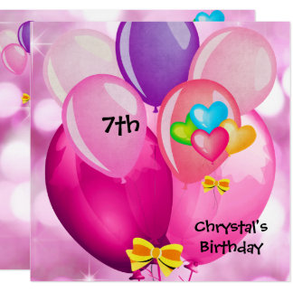 7th Birthday Party Pink Yellow Blue Balloons Girl Card