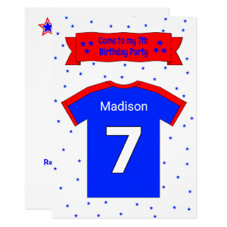 7th birthday personalized party invitation