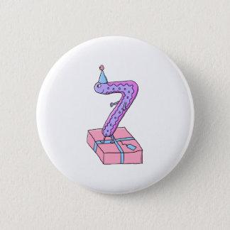 7th Birthday Pink and Purple Cartoon. 2 Inch Round Button