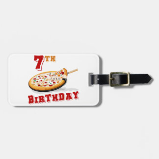 7th Birthday Pizza Party Luggage Tag