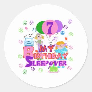 7th Birthday Sleepover Classic Round Sticker