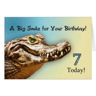 7th Birthday smiling alligator card
