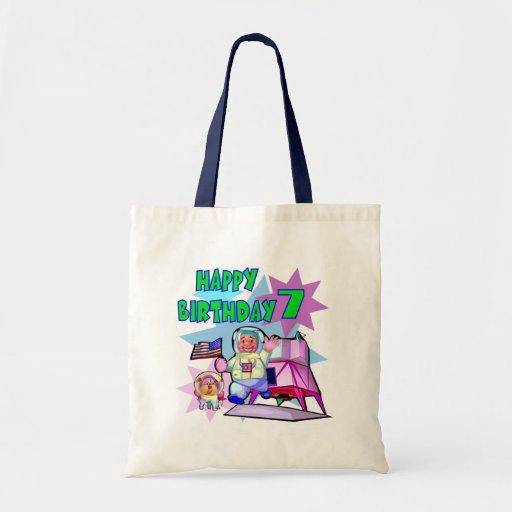 7th Birthday Space Birthday Canvas Bag
