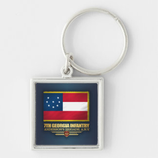 7th Georgia Infantry Silver-Colored Square Keychain