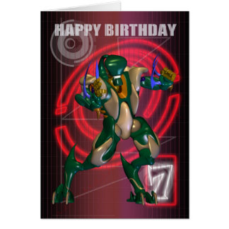 7th Happy Birthday with Robot warrior Card