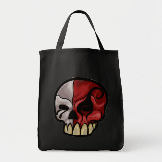 7th layer skull logo grocery tote bag
