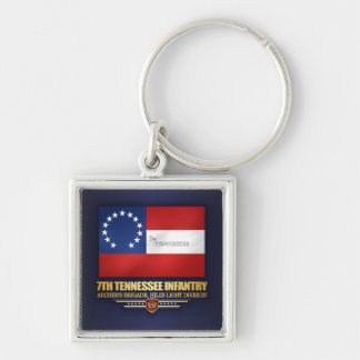 7th Tennessee Infantry Silver-Colored Square Keychain