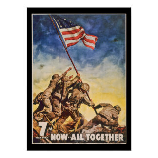 7th WarII Loan Soldiers and Flag Poster