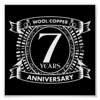 7TH wedding anniversary wool copper Poster