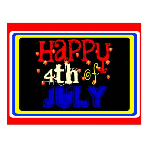 7X5 Card with Round Inside Happy 4th of July Post Card
