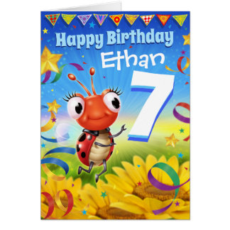 7yrs Custom birthday card Little Ladybug range