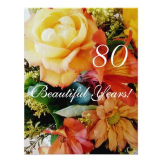 80 Beautiful Years -Birthday Yellow Rose Bouquet Personalized Invite
