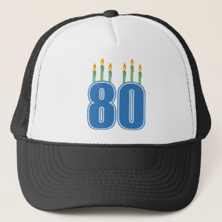 80 Birthday Candles (Blue / Green) Trucker Hat