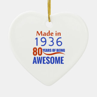 80 birthday design ceramic heart ornament