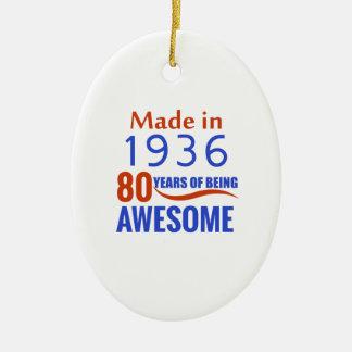 80 birthday design ceramic oval ornament