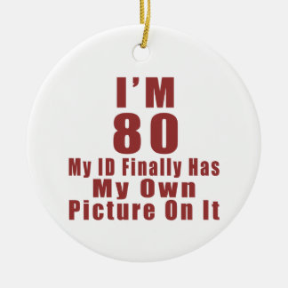 80 Birthday Designs Round Ceramic Ornament