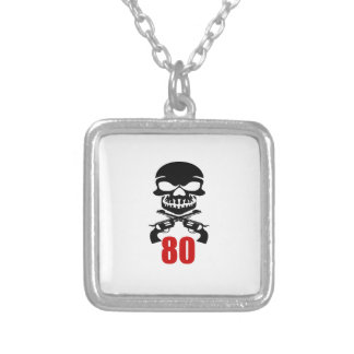 80 Birthday Designs Silver Plated Necklace