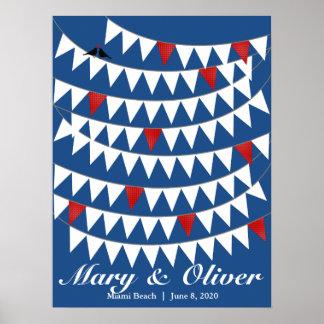 80 Bunting Red Blue Wedding Guest Book Alternative