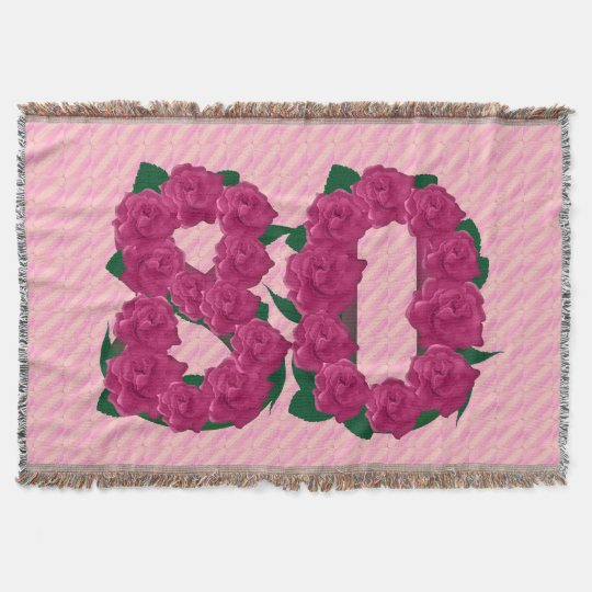 80 cute pink rose flowers 80th birthday blanket throw