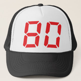 80 eighty red alarm clock digital number trucker hat
