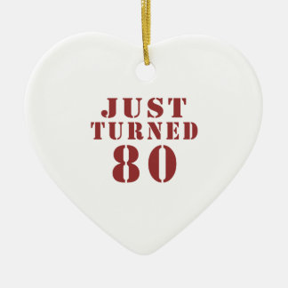 80 Just Turned Birthday Ceramic Heart Ornament