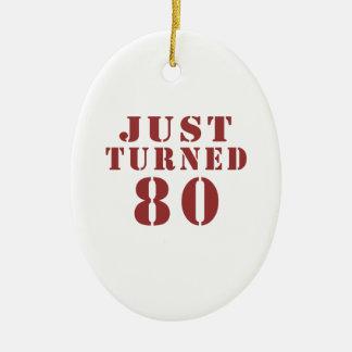 80 Just Turned Birthday Ceramic Oval Ornament