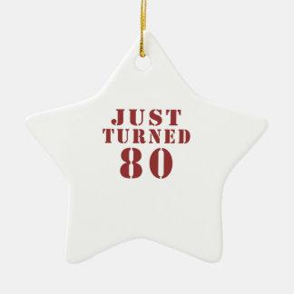 80 Just Turned Birthday Ceramic Star Ornament