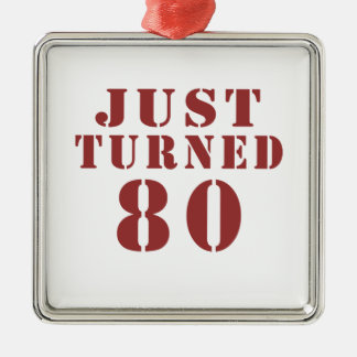 80 Just Turned Birthday Silver-Colored Square Ornament