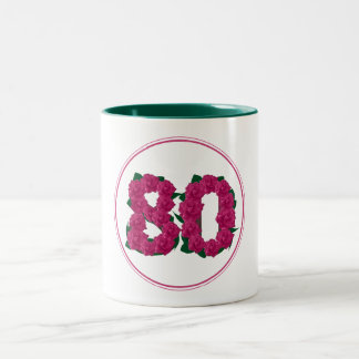 80 Number 80th Birthday Anniversary cute pink mug