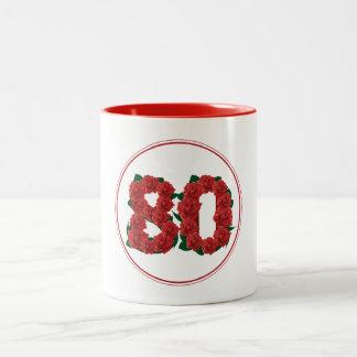80 Number 80th Birthday Anniversary red mug