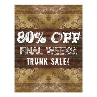 80 OFF Sale Flyer Distressed Wood Gold Lace