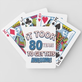 80 year old birthday designs bicycle playing cards