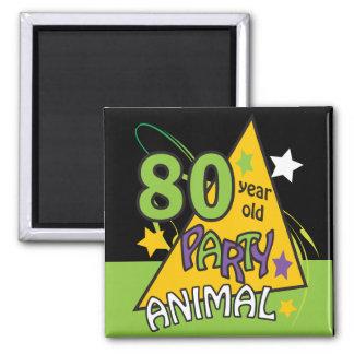 80 Year Old Party Animal Birthday Theme Fridge Magnets