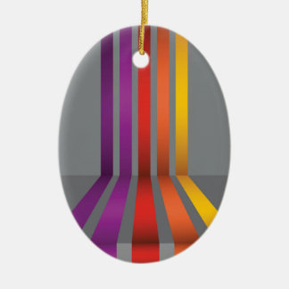 80Colorful Lines_rasterized Ceramic Ornament