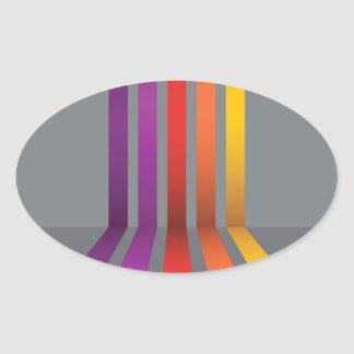 80Colorful Lines_rasterized Oval Sticker