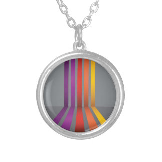80Colorful Lines_rasterized Silver Plated Necklace