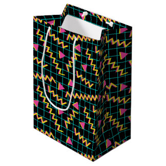 80's/90's Black & Neon Pattern Medium Gift Bag