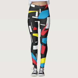 80s 90s geometric multicolored pattern retro punk leggings