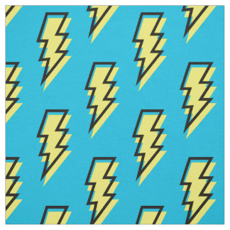 80's/90's Neon Blue Yellow Lightning Bolt Pattern Fabric