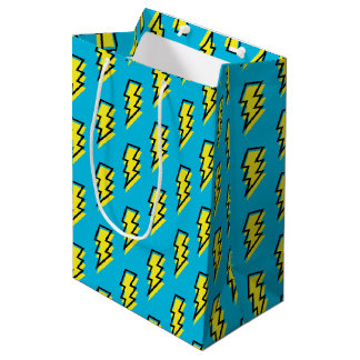 80's/90's Neon Blue Yellow Lightning Bolt Pattern Medium Gift Bag
