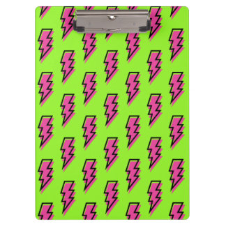 80's/90's Neon Green & Pink Lightning Bolt Pattern Clipboard