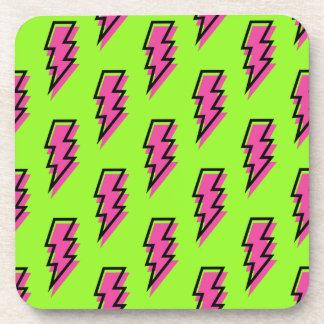 80's/90's Neon Green & Pink Lightning Bolt Pattern Coaster