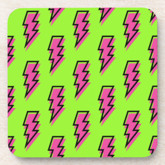 80's/90's Neon Green & Pink Lightning Bolt Pattern Coasters