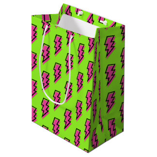 80's/90's Neon Green & Pink Lightning Bolt Pattern Medium Gift Bag